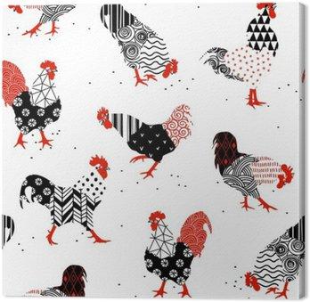 Obraz na Plátně Kohouti se vzory