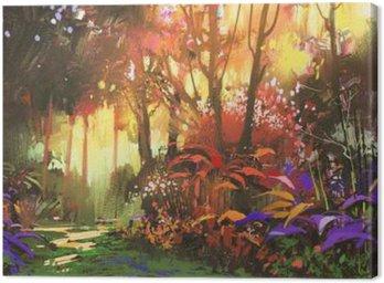 Obraz na Plátně Krajinomalba z krásného lesa s slunečního světla, ilustrační