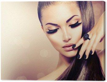 Obraz na Plátně Krása Modelka dívka s dlouhými hnědými vlasy zdravé