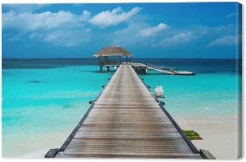 Obraz na Plátně Krásná pláž s vodními bungalovy