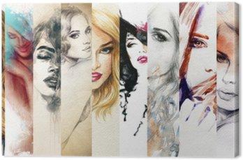 Obraz na Plátně Krásná ženská tvář. akvarel ilustrace