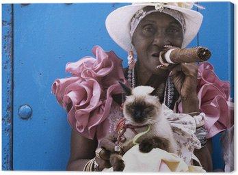 Obraz na Plátně Kubánský doutník lady