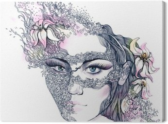 Obraz na Plátně Květinové zdobené tvář
