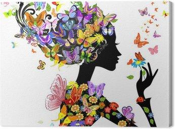 Obraz na Plátně Květy dívka módní s motýly