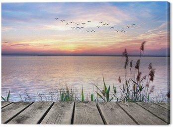 Obraz na Plátně Lake barevné mraky