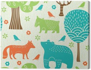 Obraz na Plátně Lesní zvířata bezešvé vzor