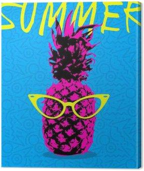 Obraz na Plátně Letní design ananasu s bederní brýlemi