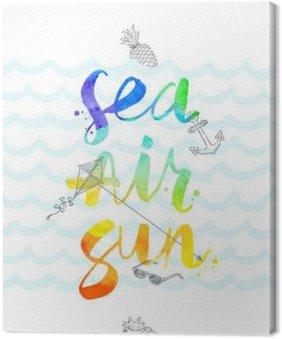 Obraz na Plátně Letní prázdniny ručně kreslenými ilustrace s akvarelem kaligrafie - vektorové ilustrace