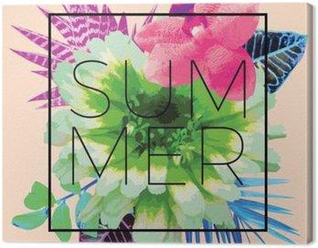 Obraz na Plátně Letní slogan. Trendy květinovým potiskem