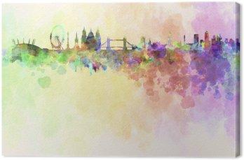 Obraz na Plátně Londýn panorama v pozadí akvarel