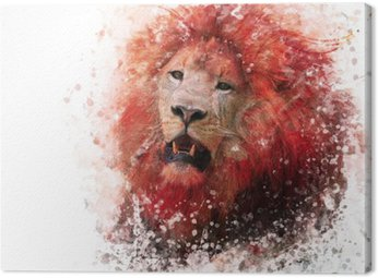 Obraz na Plátně Lví hlava akvarel