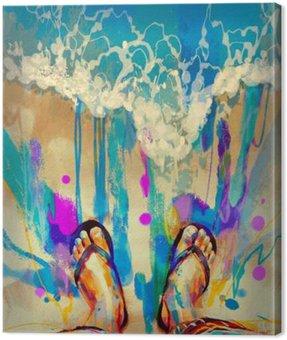 Obraz na Plátně Malování barevných nohou s žabky na písečné pláži