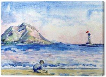 Obraz na Plátně Malý chlapec na pláži. Okořeněnou maják. akvarelu