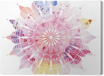 Obraz na Plátně Mandala barevný akvarel. Krásný kulatý vzor. Detailní abstraktní vzor. Dekorativní izolovaný.