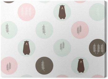 Obraz na Plátně Medvěd a lesní bezproblémové pozadí. vektorové design ilustrace.
