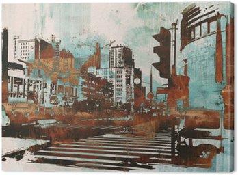 Obraz na Plátně Městské panoráma s abstraktním grunge, ilustrace malba