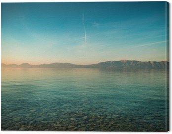 Obraz na Plátně Mírové krajina s mořem a kopci před východem slunce