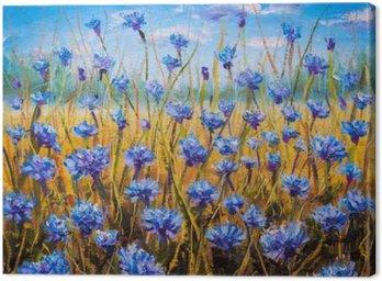 Obraz na Plátně Modré květy pole olejomalba.