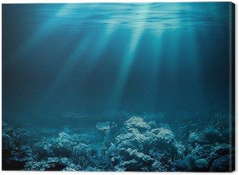 Obraz na Plátně Moře hluboký oceán nebo pod vodou s korálovým útesem jako podklad pro