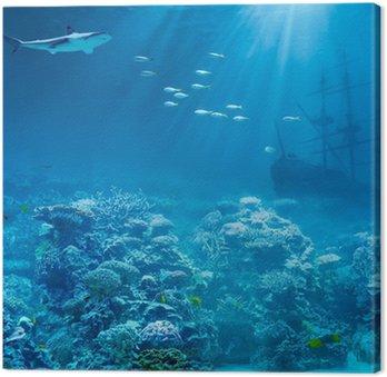 Obraz na Plátně Moře nebo oceánu pod vodou s žralokem a potopena poklady lodi