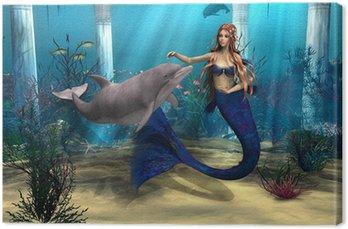Obraz na Plátně Mořská panna a Dolphin