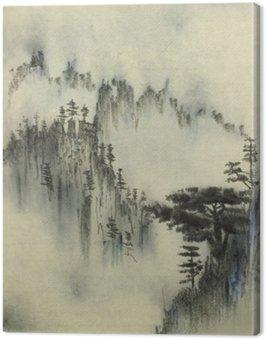 Obraz na Plátně Mountain borovice a mlha