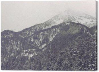 Obraz na Plátně Mraky se pohybuje přes vzdálený vrchol hory