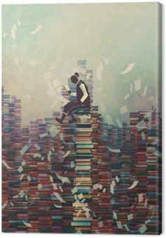 Obraz na Plátně Muž čtení knihy, zatímco sedí na hromadu knih, znalost pojmu, ilustrační natírání