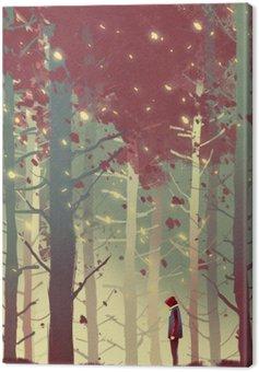 Obraz na Plátně Muž stojící v krásném lese s padající listí, ilustrace malba