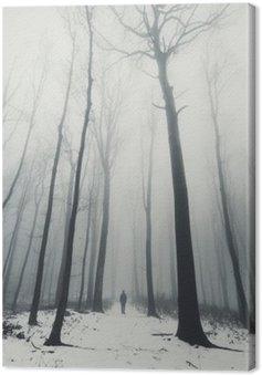 Obraz na Plátně Muž v lese se vzrostlými stromy v zimě