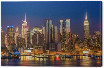 Obraz na Plátně New York City Manhattan Midtown budovy panorama v noci