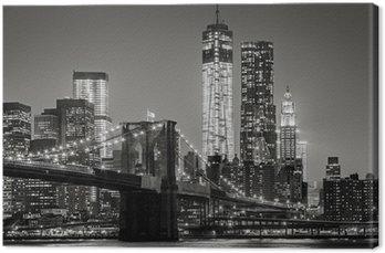 Obraz na Plátně New York v noci. Brooklynský most, Dolní Manhattan - Black