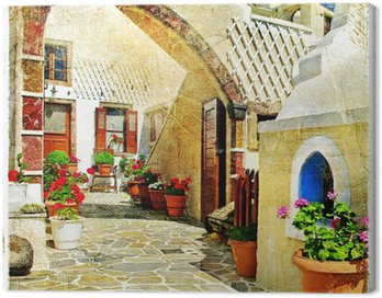 Obraz na Plátně Obrazová ulice Santorini
