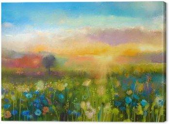 Obraz na Plátně Olejomalba květiny pampeliška, chrpa, sedmikráska na polích. Západ slunce louka krajiny s wildflower, kopce a obloha v oranžové a modré barvy pozadí. Hand Paint léto květinový Impressionist styl