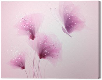 Obraz na Plátně Pastel motýl a delikátní květiny