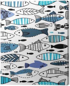 Obraz na Plátně Podvodní bezešvé vzor s rybami. Bezešvé vzor můžete využít k tapet, webové stránky pozadí