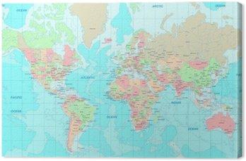 Obraz na Plátně Politická mapa světa