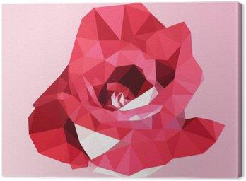 Obraz na Plátně Polygonální červená růže. poly nízký geometrický trojúhelník květina vektor