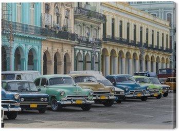 Obraz na Plátně Pouliční scéna s veteránem v Havaně na Kubě.