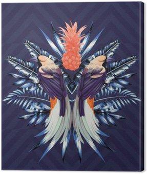 Obraz na Plátně Ptáci a ananas zrcadlový tisk
