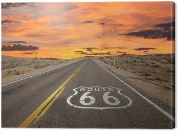Obraz na Plátně Route 66 Pavement Sign slunce Mohavské poušti