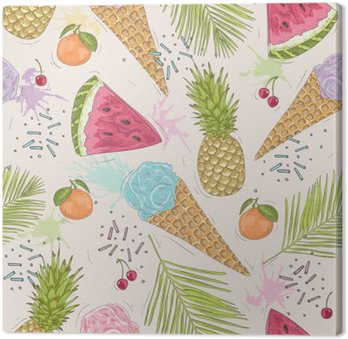 Obraz na Plátně Roztomilý bezproblémové vzorek s zmrzliny, ananasy. vektor backgr