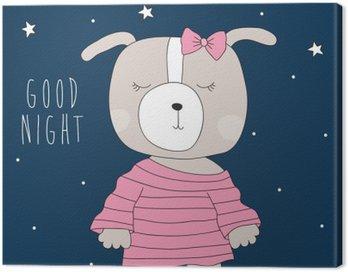 Obraz na Plátně Roztomilý pes na sobě pyžamo ilustrace