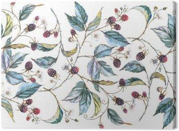 Obraz na Plátně Ručně kreslená vodovkovou bezešvé ornament s přírodními motivy: ostružiny větve, listy a bobule. Opakovaná ozdobného ilustrační, hranice s plody a listy