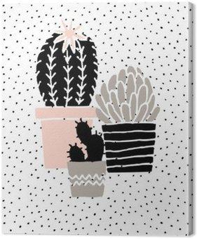 Obraz na Plátně Ručně kreslenými Cactus Plakát