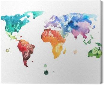 Obraz na Plátně Ručně malovaná akvarel akvarel světa mapa ilustrace.