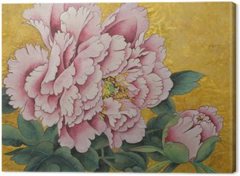 Obraz na Plátně Růžová pivoňka květ na zlatém pozadí