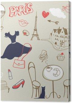 Obraz na Plátně Sada kreslené ručně symboly Paříži
