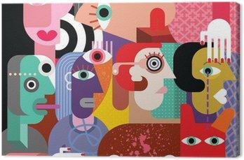 Obraz na Plátně Šest žen a pes