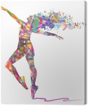 Obraz na Plátně Silueta balerína skládá z barev